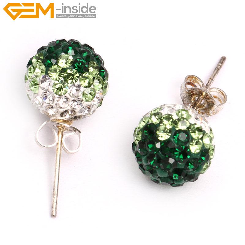 10mm CZ Crystal Clay Rhinestone Disco Ball Beads Stud Earrings Christmas  Gift 2f5924b8241a