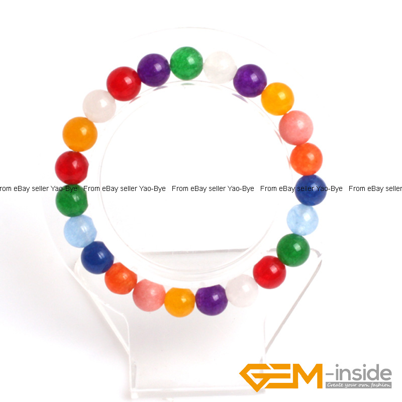 Wholesale-Lot-Handmade-Fashion-Jewelry-Assorted-Colors-Beaded-Jade-Bracelet-7-5-034 thumbnail 102