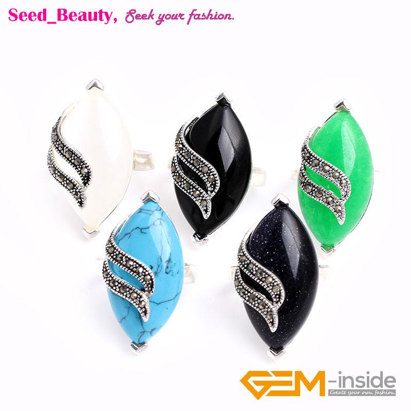 14x29mm Marquise Gemstone Beads Tibetan Silver marcassite Fashion Jewelry Ring YB