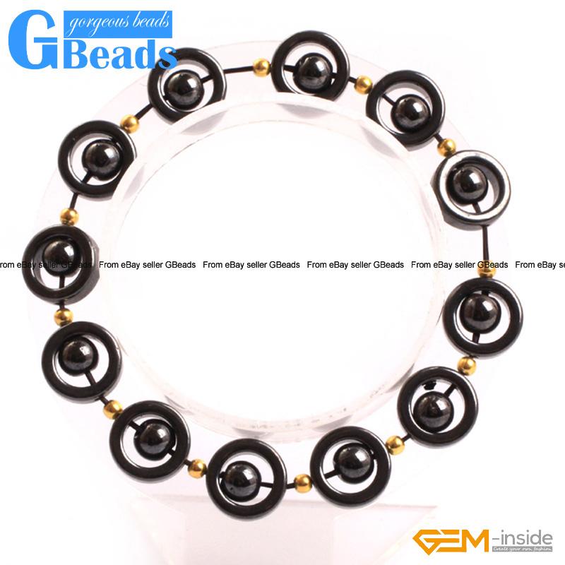 "12mm Black Magnetic Hematite Gemstone Donut Ring Beads For Jewelry Making 15/"" GB"