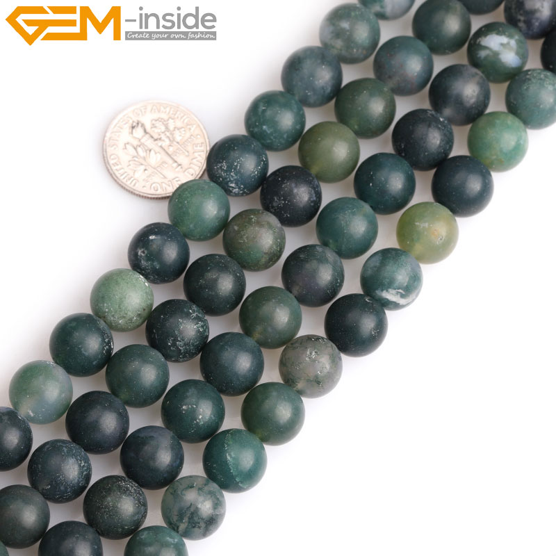 Green Natural Moss Agate Stone Semi Precious Forested Matt Round loose Beads