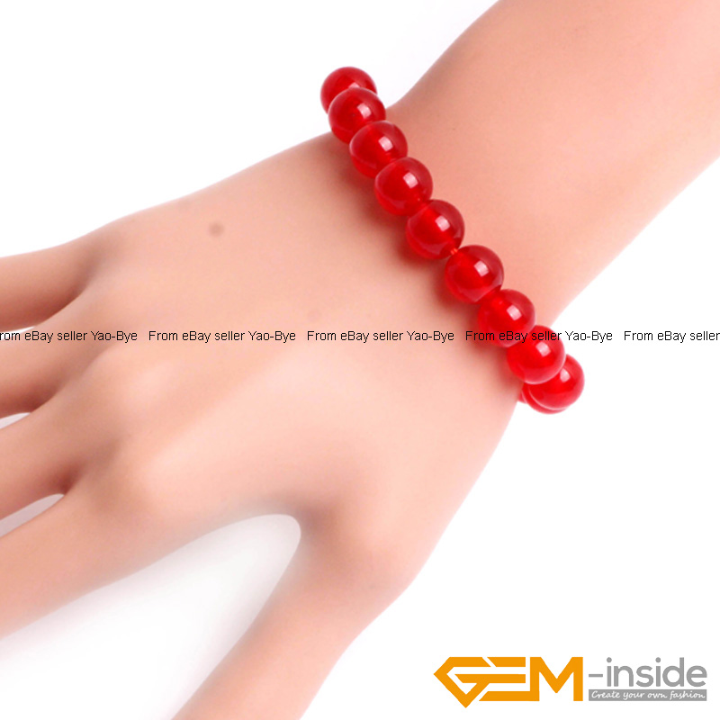 Wholesale-Lot-Handmade-Fashion-Jewelry-Assorted-Colors-Beaded-Jade-Bracelet-7-5-034 thumbnail 19