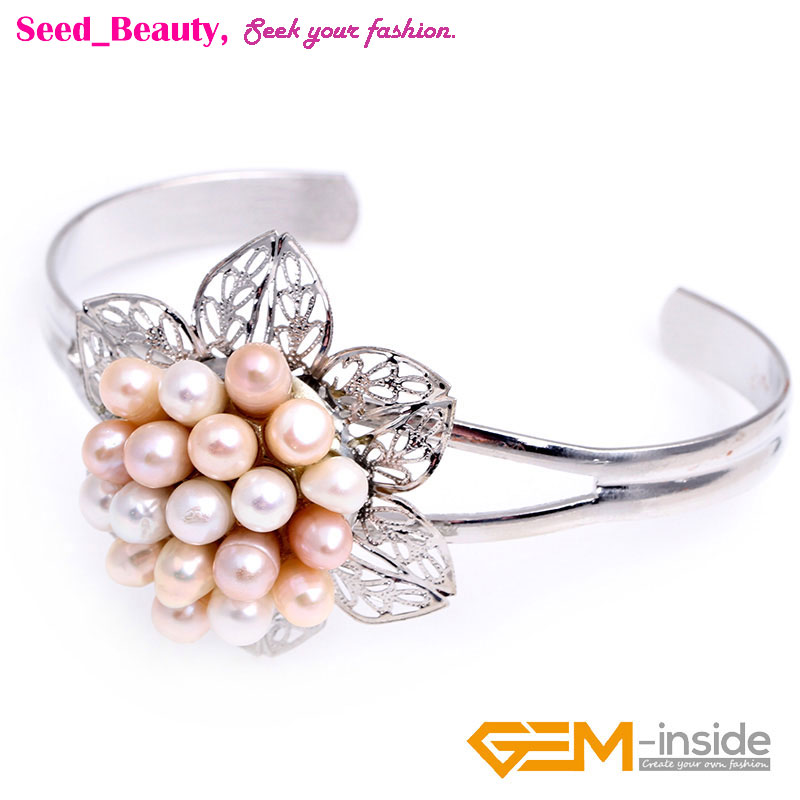 30x48mm Freshwater Cluster Pearl Beads Flower Jewelry Cuff Bracelet Gift Box