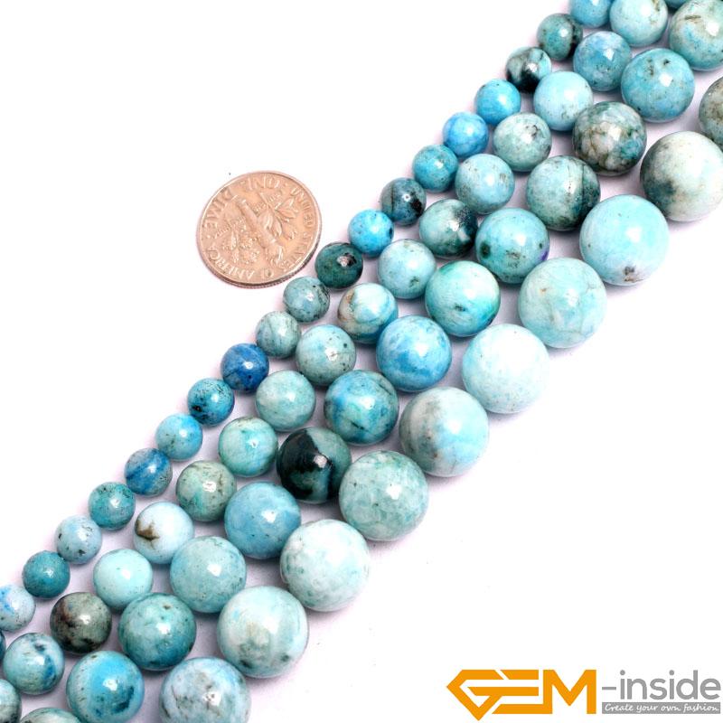 "6 8 10 12MM Genuine Natural Aquamarine Round Gemstone Loose Beads 15/"" Strand AAA"