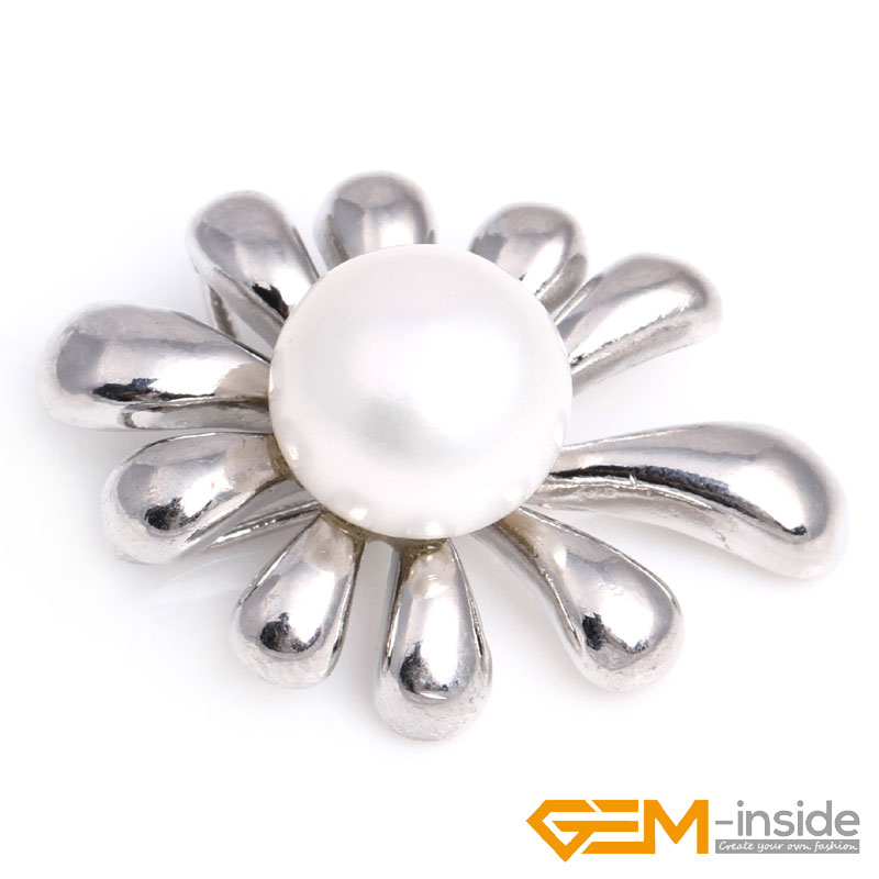 Natural 10-11mm Freshwater Pearl White Gold Plated Snake Base Jewelry Pendant