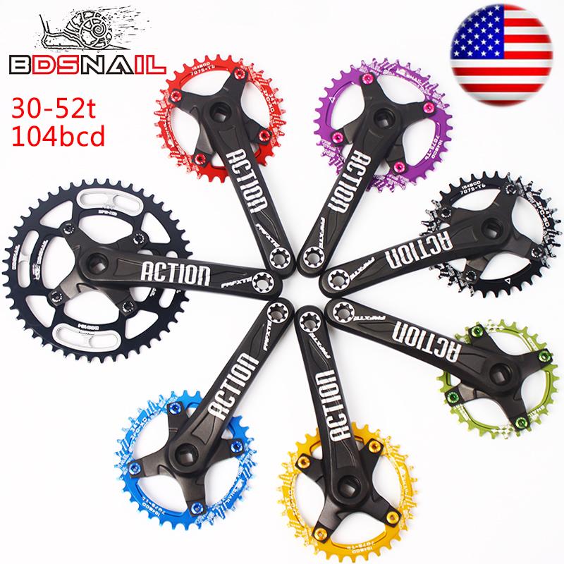 30-52t 104BCD 170mm Crankset Narrow Wide Chainring MTB Bike Crank Aluminum CNC