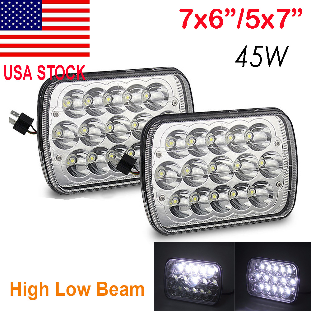 H4 LED Conversion Kit H6014 7x6 Sealed Beam Headlight Diamond Housing