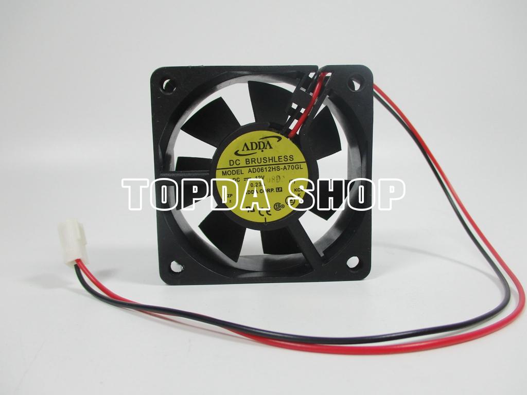 1pcs ADDA AD0612HB-A70GL DC12V 0.23A 60x60x25mm 2 Pin Case//CPU Cooling Fan
