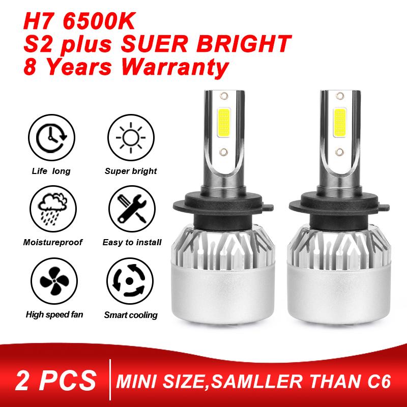 2pcs 9-32V 72W COB H7-S2 8000LM LED Car Headlight Fog Light Lamp Bulb 6500K Hot