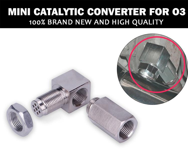 90° Oxygen Sensor Spacer Engine CEL Check Bung Mini Catalytic Converter for O2