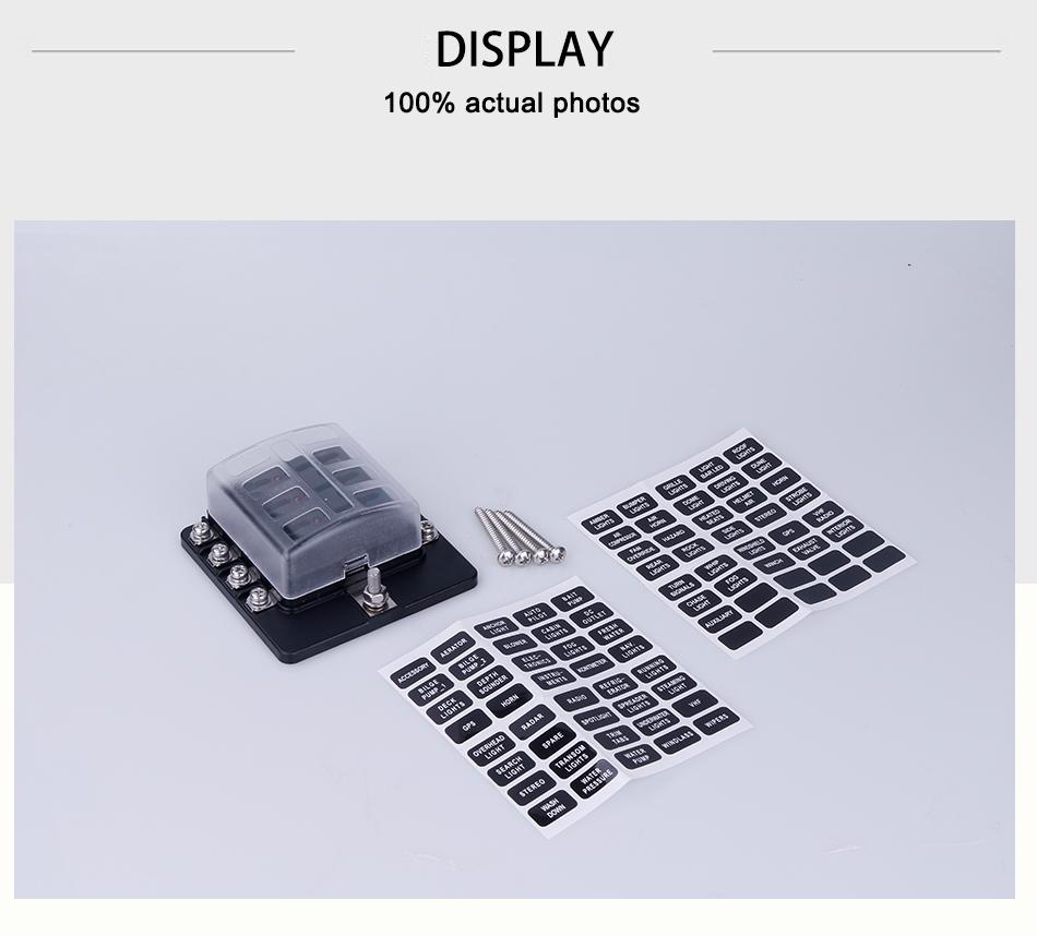 6 Way Polaris RZR Can-am UTV ATV 12V Blade Fuse Box Block Cover /& LED Indicators