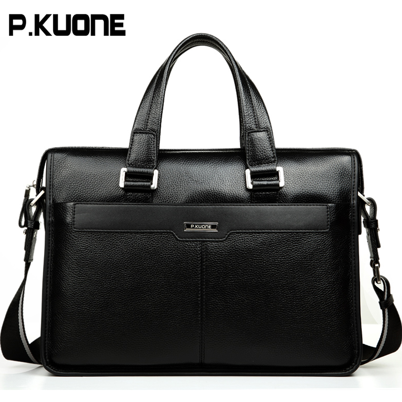 14-034-15-Laptop-Bag-Handbag-Men-039-s-Genuine-Leather-Messenger-Shoulder-Bag-Briefcase