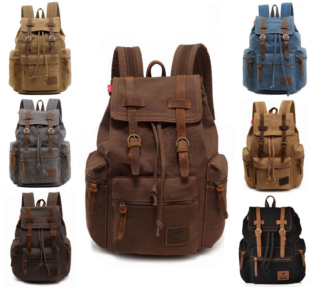 Men Women Retro Canvas Travel Sport Bag Rucksack School Bookbag Laptop Backpack