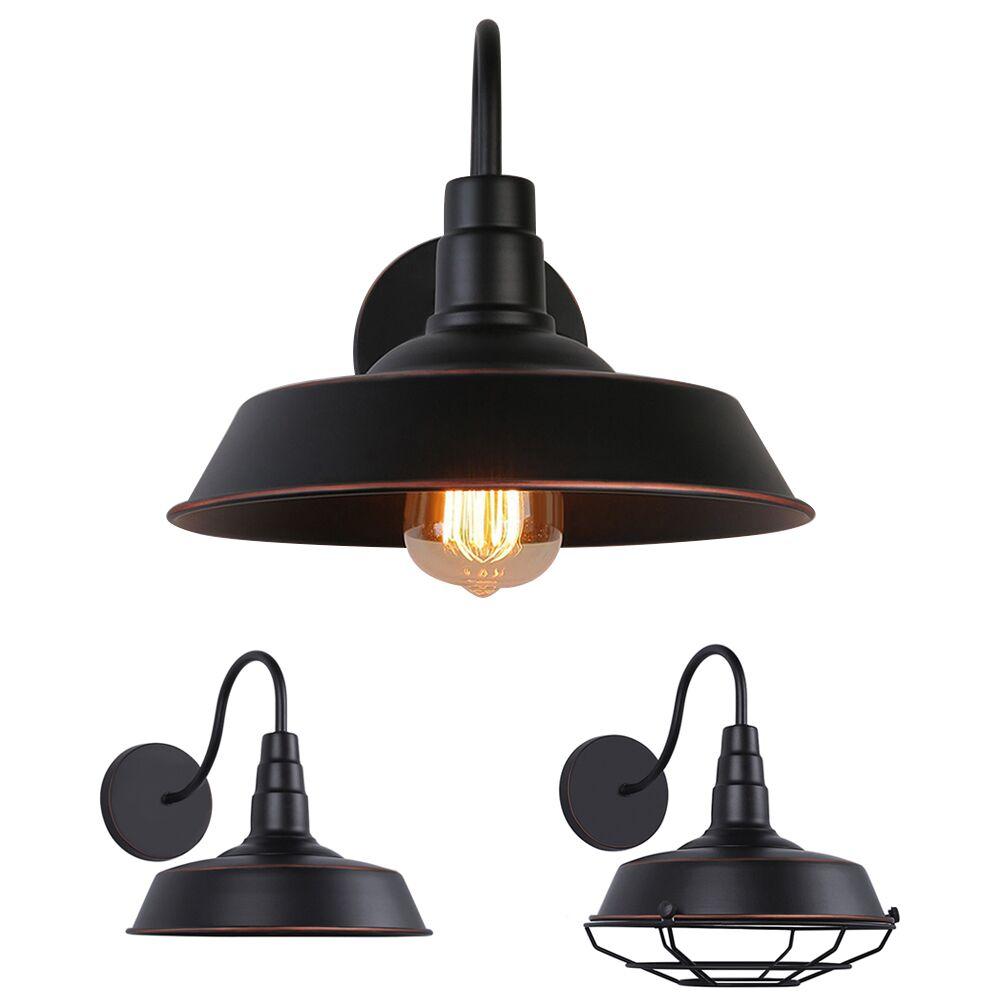 Details about industrial barn wall mount lamp retro metal gooseneck arm sconce light fixture