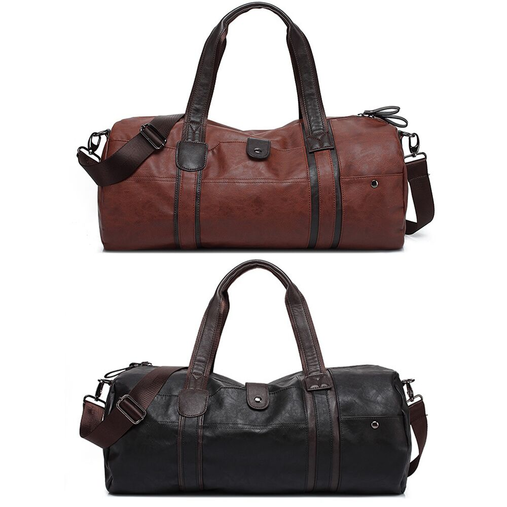 Details About Leather Duffle Bag Men Roll Handbag Gym Weekend Shoulder Tote Travel Luggage