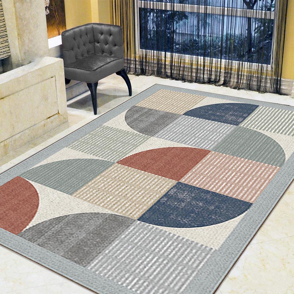 Contemporary Area Rug Geometric Velvet Floor Mat Mordern Room