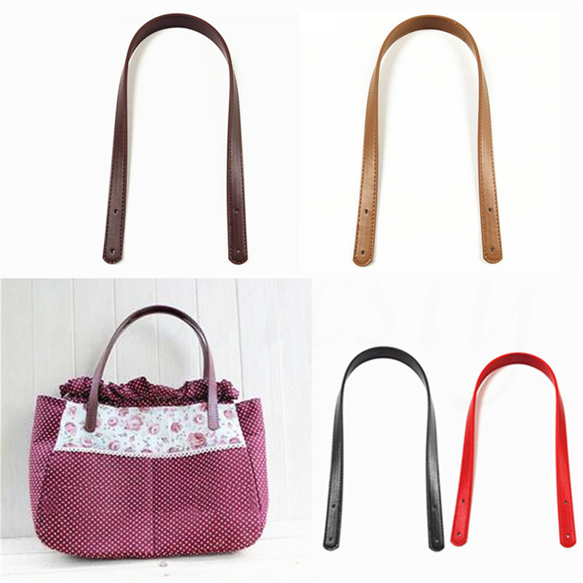 48fb90c296d5 Details about 2pcs 62cm Girls PU Leather Bag Handles Handbag Strap Bag  Accessories Replacement