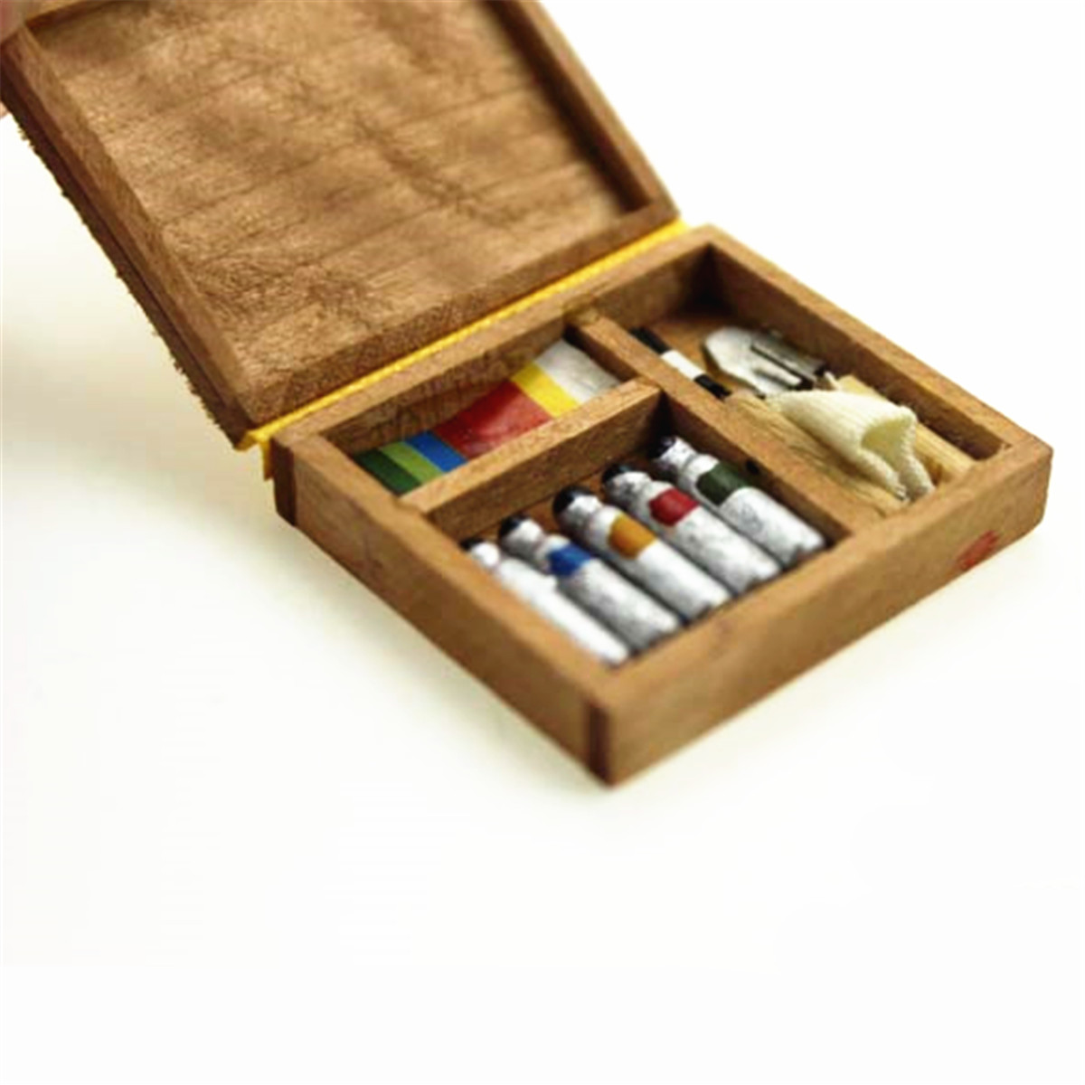 Dollhouse Miniatures Mini Watercolor Drawing Tool Box Paint Set Case