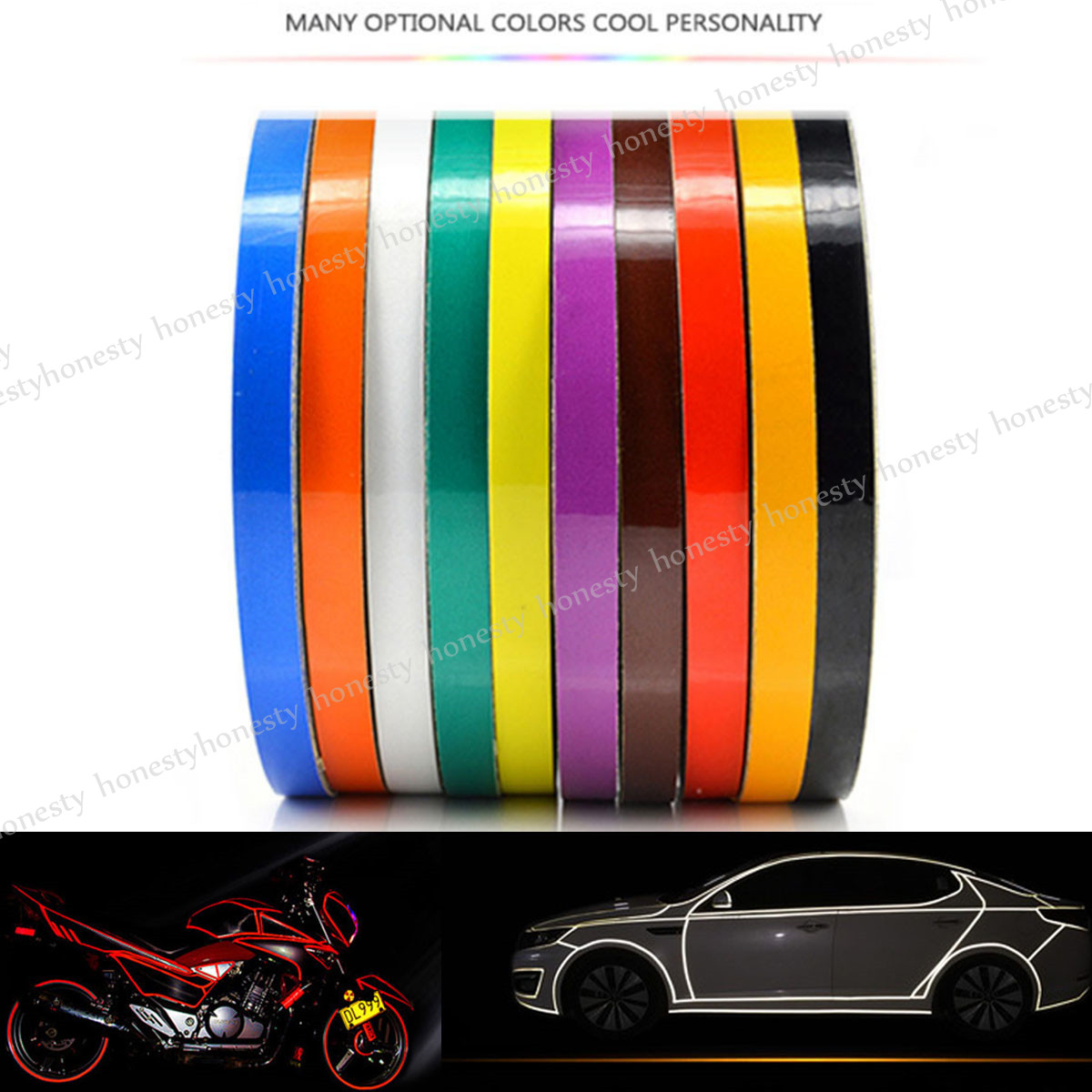 10 Color Car Reflective Safety Warning Conspicuity Tape