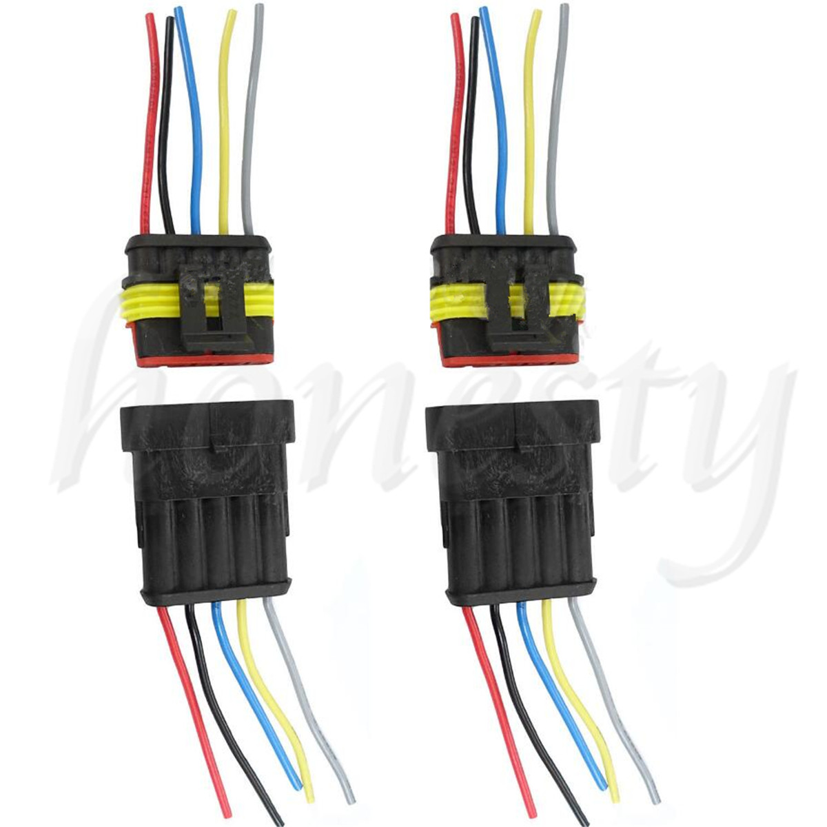 one set 5 pin way car waterproof electrical connector plug with wire