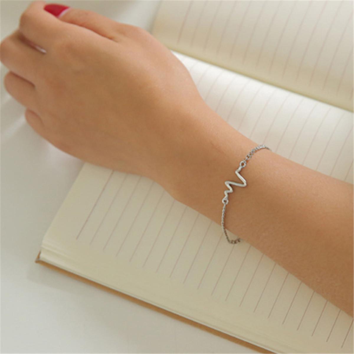Heartbeat Rhythm Bracelet Anium Steel Ecg Ekg Fashion Bangle