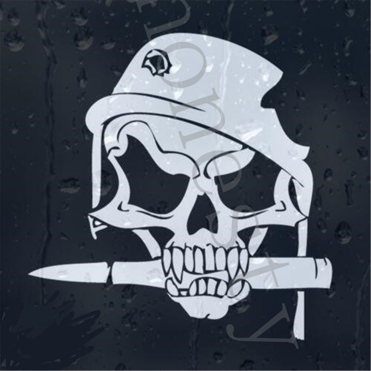 Army Skull Bullet In Military Helmet With Shot Hole Car decal Wall ...