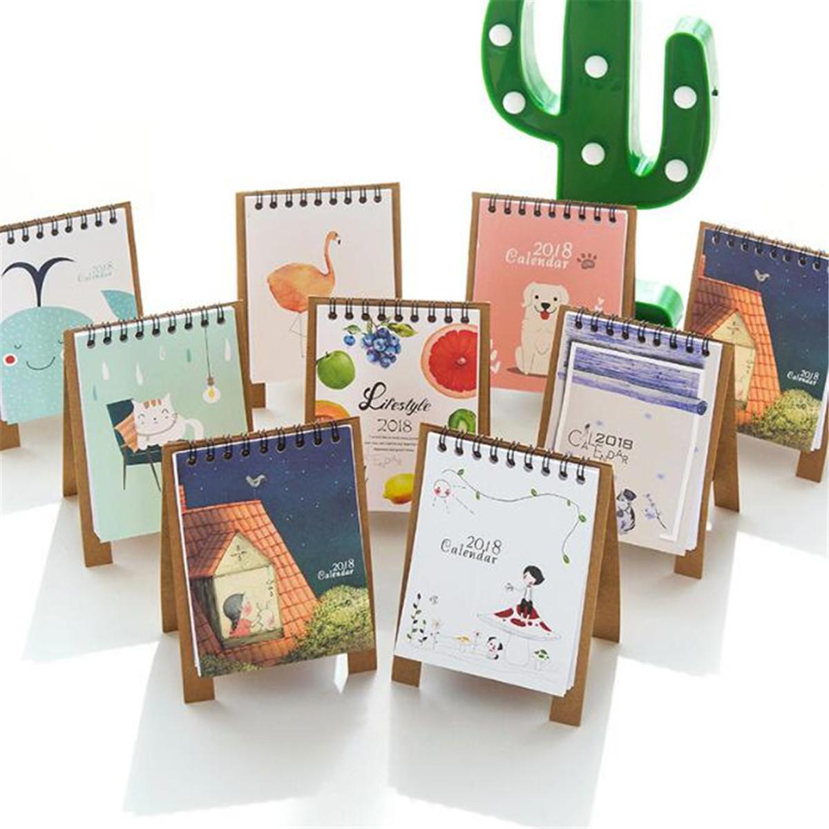 2019 Cartoon Animal Cute Desk Desktop Calendar Flip Stand Table Office Planner