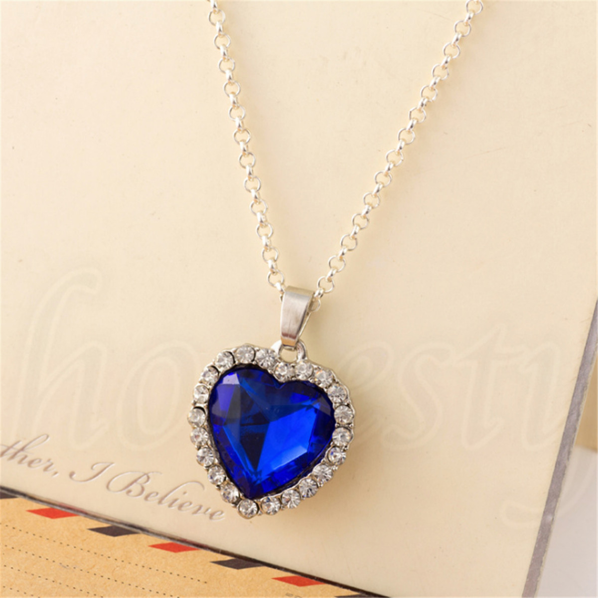 Titanic pendant necklace crystal silver necklace sapphire blue titanic pendant necklace crystal silver necklace sapphire blue heart of ocean aloadofball Image collections