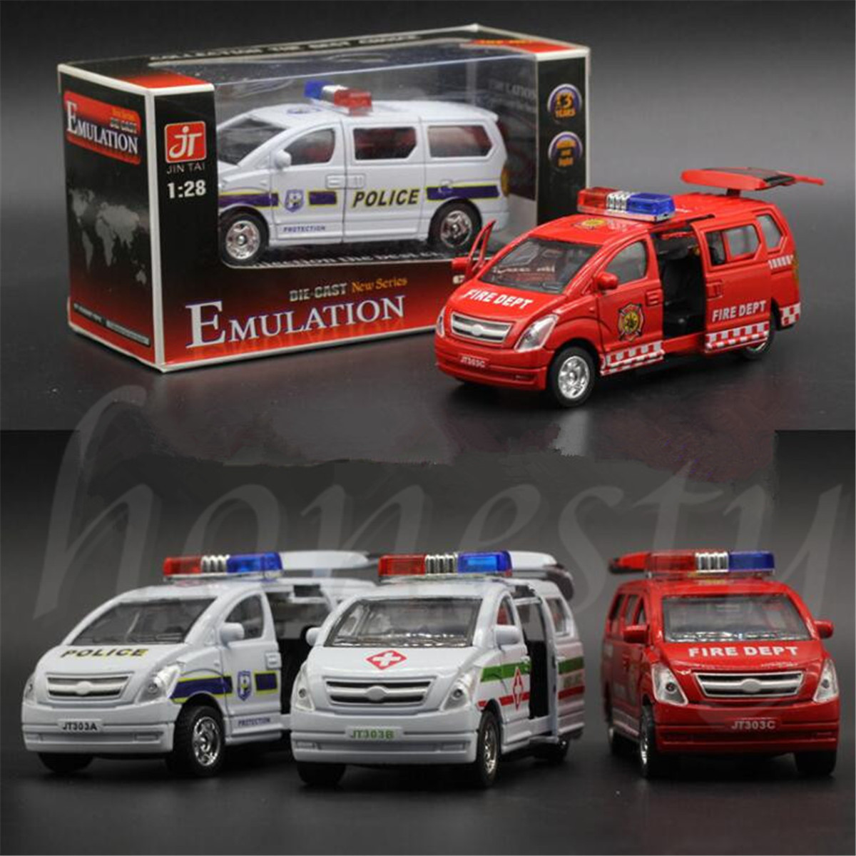 1:32 Alloy Toy Cars Pull Back Van Model Kids Toy Ambulance