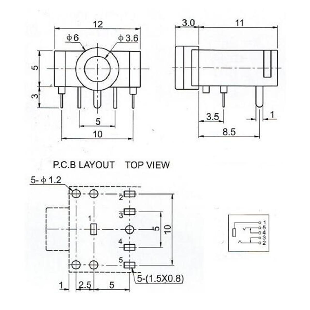 10pcs 35mm Female Stereo Audio Socket Headphone Jack Connector 5 Plug Wiring Diagram Besides Pin Pcb Mount