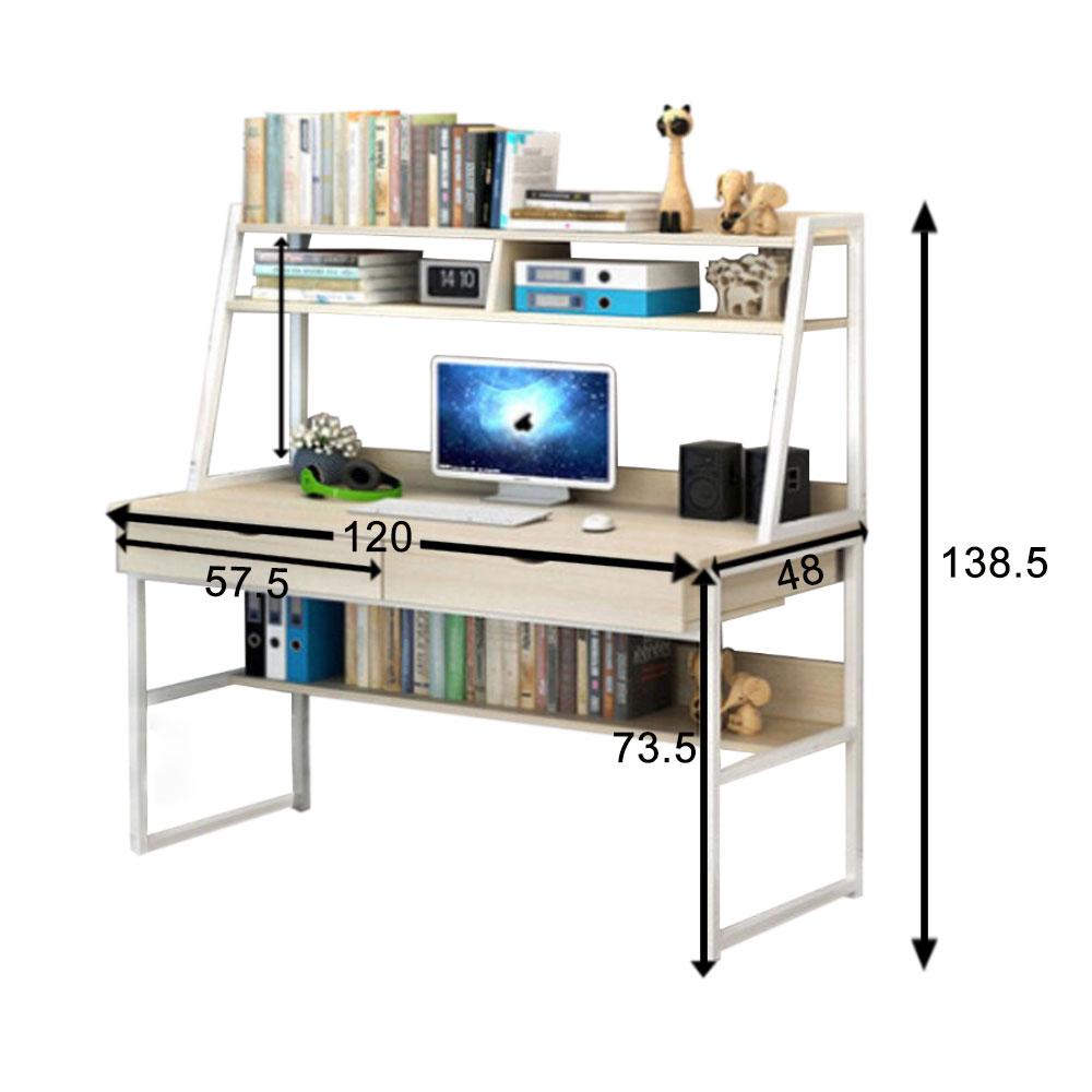 120cm Table d/'Ordinateur Bureau Informatique PC Poste de Travail Étagères Maison