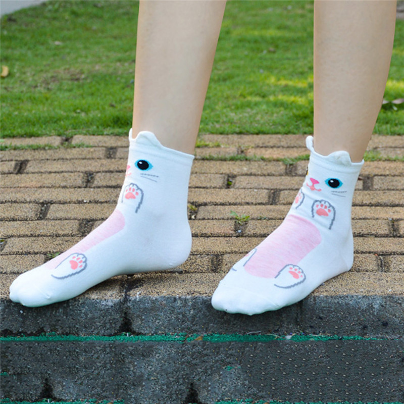 Fashion-Women-Girls-Cute-3D-Animal-Cartoon-Cat-Printed-Casual-Ankle-high-Socks miniature 34