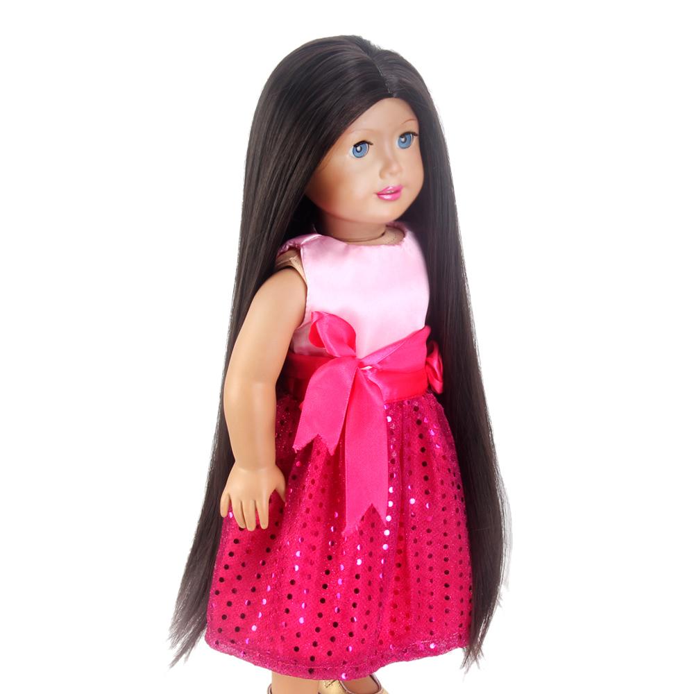 """17/'/' Doll Wig Fit 18"""" American Girl Doll AG OG Gotz Journey Girl Hair Black Brow"""