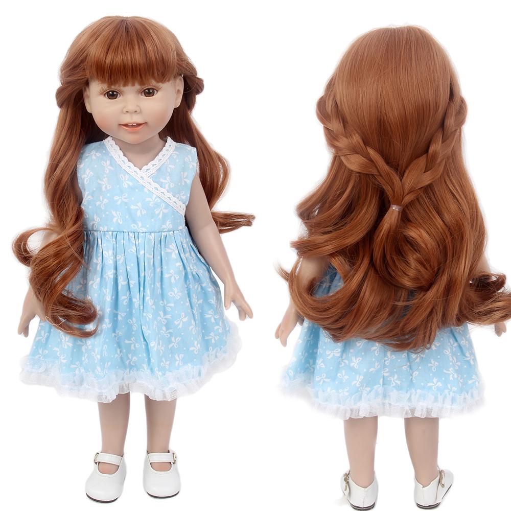 """15/'/' Brown Doll Wig Fit 18"""" American Girl Doll AG OG Gotz Journey Girl Hair"""