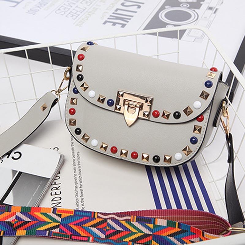 Fashion-Ladies-Women-Rivet-Studded-Crossbody-Messenger-Hangbag-Clutch-Ribbon-Bag
