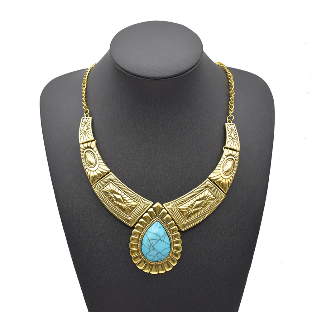 62aa62314c3a Details about Women Tribal Chunky Turquoise Gold Bib Statement Necklace  Large Teardrop Pendant
