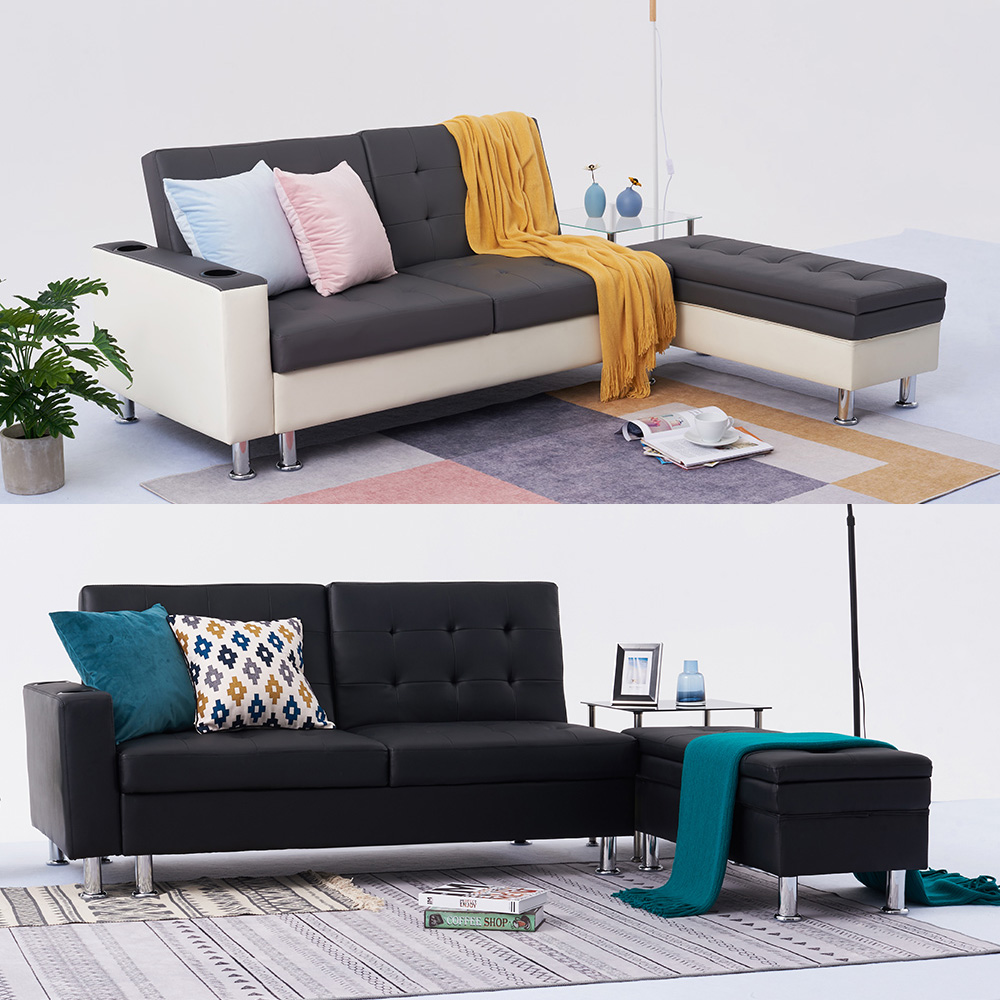 Details About Stylish Faux Leather Corner Sofa Bed With Storage Ottoman Couch Recliner Sofabed