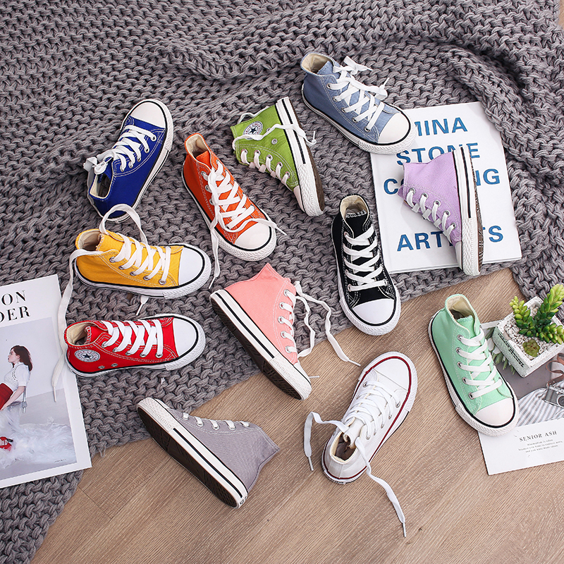 20-38 Boys Girls Canvas High Top Shoes Plimsolls Shoes Sports Skateboard Sneaker