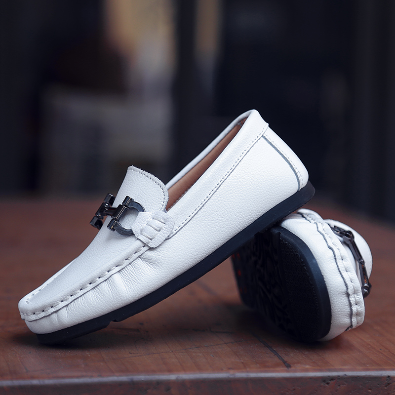 28-39 Kids Boys Girls Flat Loafers Leather Shoes Moccasins Boat Shoes Slip On