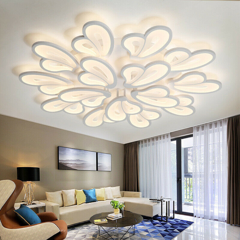 Led Acrylic Ceiling Lights Warm Cool Butterfly Modern Chandeliers Living Bedroom Ebay