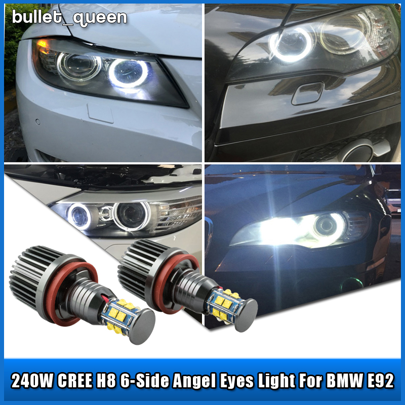 2X 120W CREE NEW H8 LED Angel Eyes Halo Ring Light Bulbs HID Xenon White For BMW