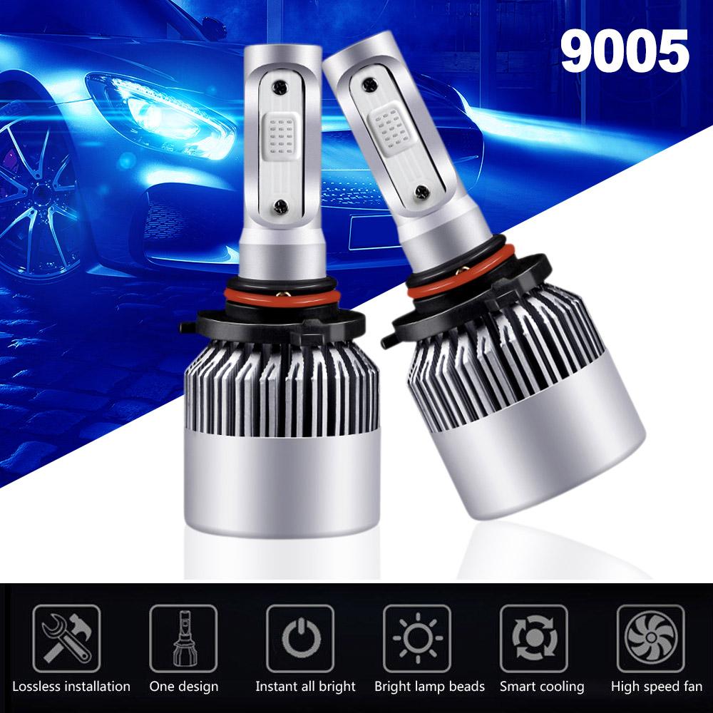 9005 HB3 H10 Car COB LED Headlight Bulb Fog Bulb 6000K 1500W 225000LM Black S2*1