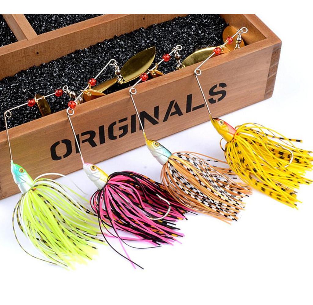 4pcs Spinner Fishing Lure Bait Spoon Swisher Buzzbait Bass Metal 10 Pcs Plus Box Minnow 184g