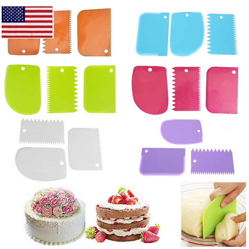 Details about 3pcs Plastic Dough Icing Fondant Scraper Cake Baking Pastry  Decorating Tools OCC