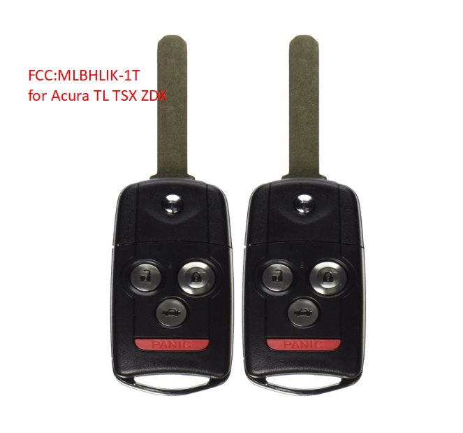 2*New Replacement Remote Key Fob 4 Button For Acura TL TSX