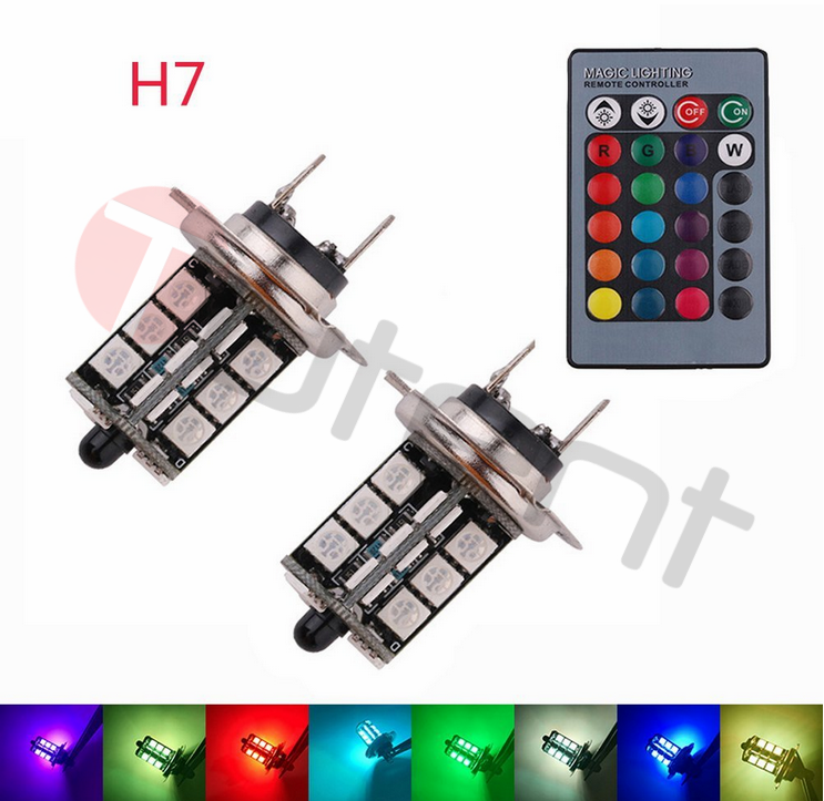 2x RGB H7 5050 27-SMD Car LED Fog Lights Bulbs Driving DRL Lamp ...