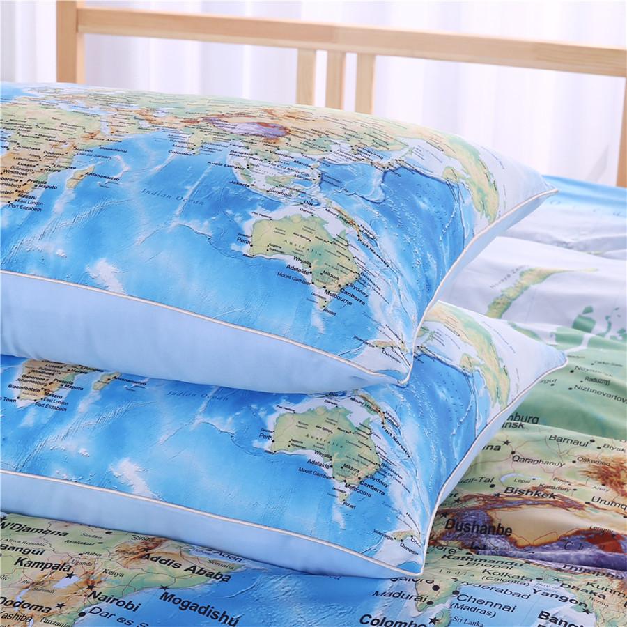 World map bedding set vivid printed blue bed duvet cover with world map bedding set vivid printed blue bed duvet cover with pillowcases 3pcs gumiabroncs Choice Image