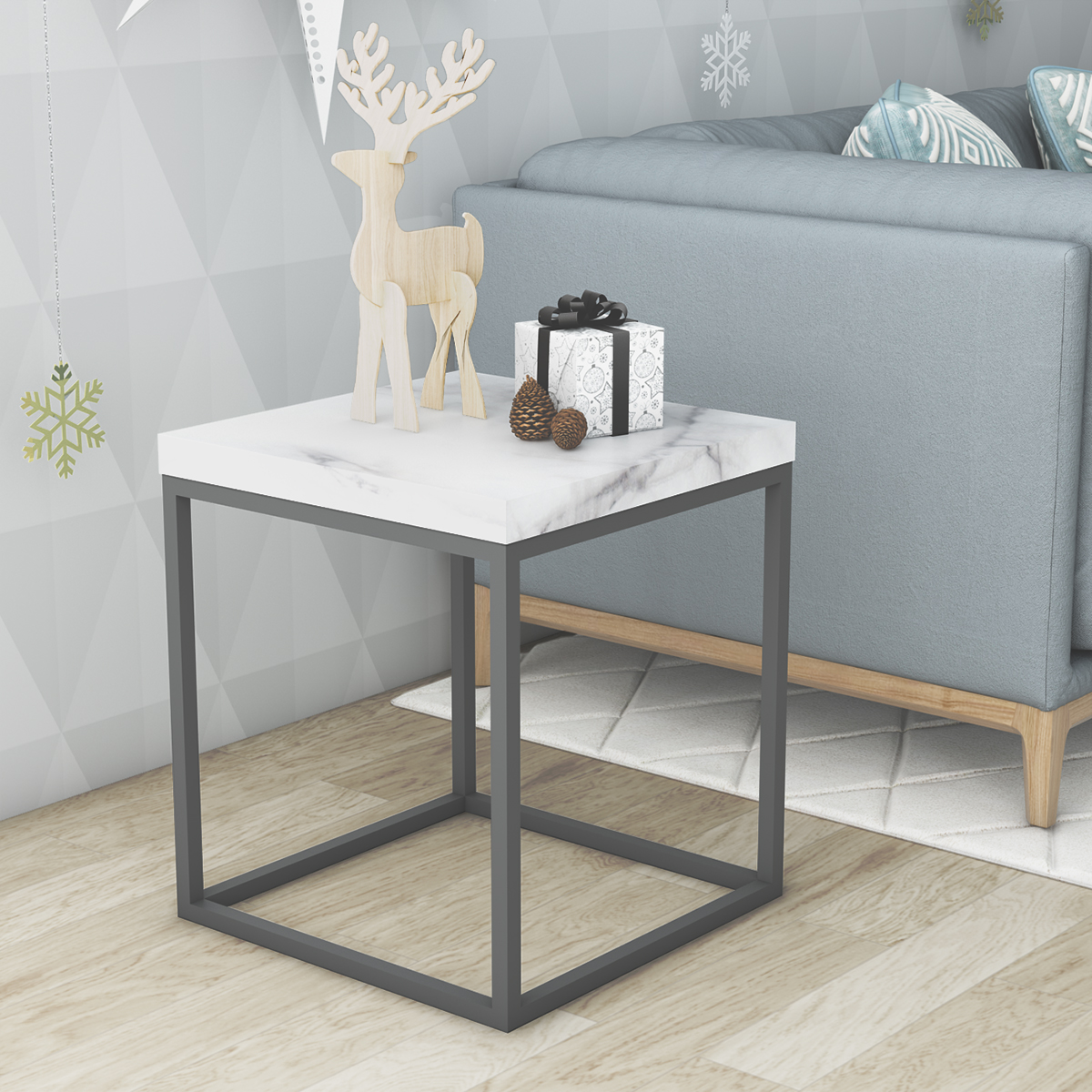 Faux Marble White Top End Table,Black Metal Frame Side Table For Living  Room New