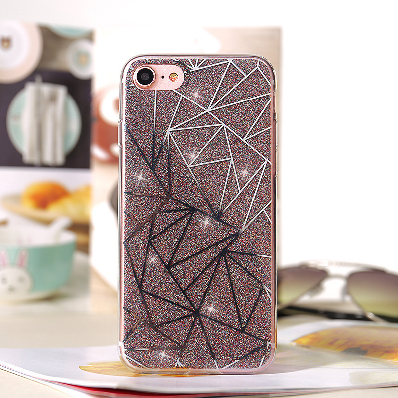 For iPhone X Case TPU Glitter Bling Crystal Sparkling Hard Line Back Cover S003