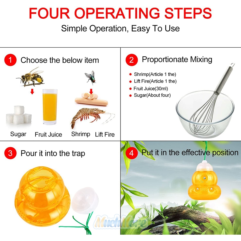 6 x Hanging Bee Catcher Wasp Trap Hornets Yellow Jackets Bugs Repellent 6 Tunnel